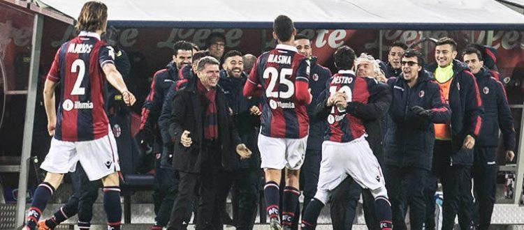 L'esultanza del Bologna