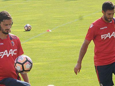 Marios Oikonomou e Nicolò Cherubin in allenamento a Castelrotto