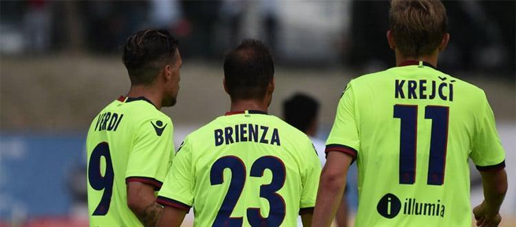 Verdi, Brienza e Krejci dopo il gol del vantaggio sull'Al-Ain (foto: bolognafc.it)
