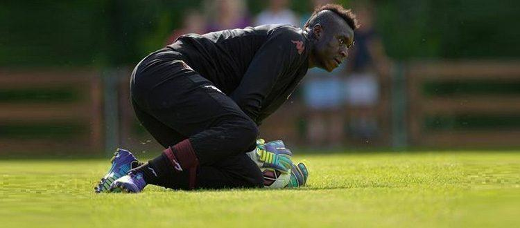 Alfred Gomis in allenamento con il Torino