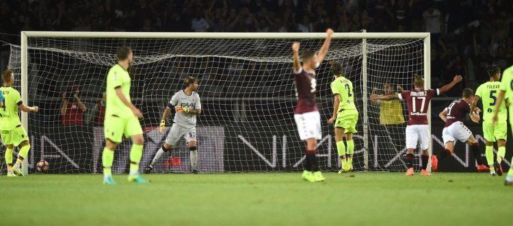L'esultanza dei giocatori granata dopo il gol dell'1-0 di Belotti