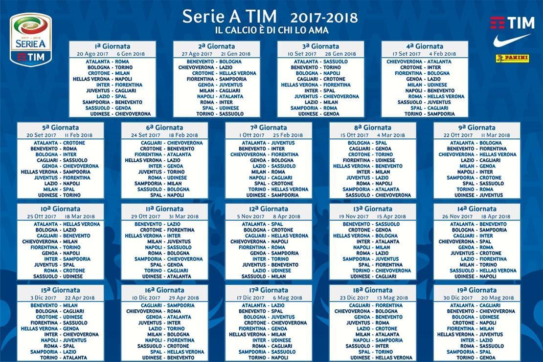 Benevento Calendario.Calendario Serie A 2017 2018 Si Parte Al Dall Ara Con