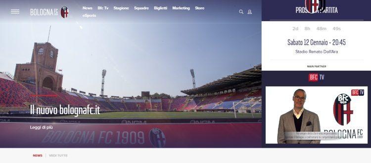 Nuovo look per il sito ufficiale del Bologna