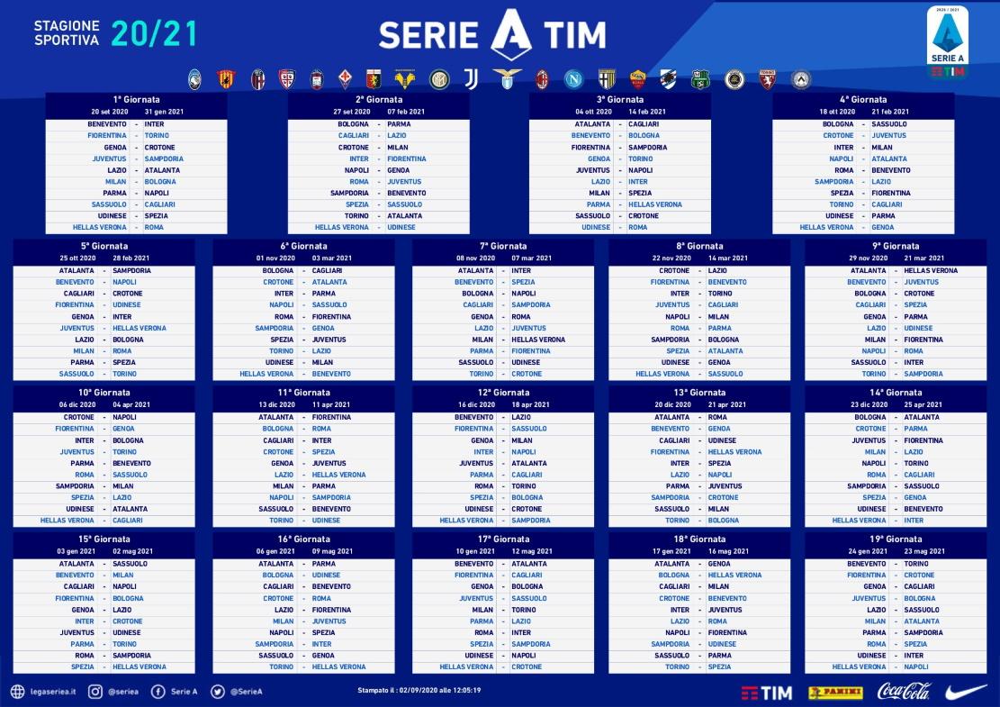 Calendario Serie A 2020/21: il Bologna inizia in casa del Milan