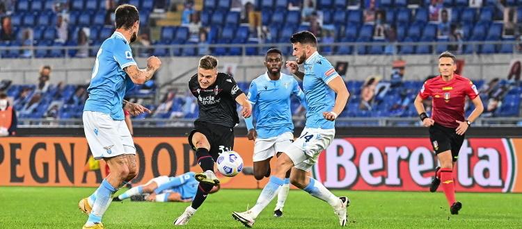 Ancora una bel Bologna, ancora zero punti: 2-1 Lazio con Luis Alberto e Immobile, pesano le ingenuità e le decisioni di Irrati e Mazzoleni