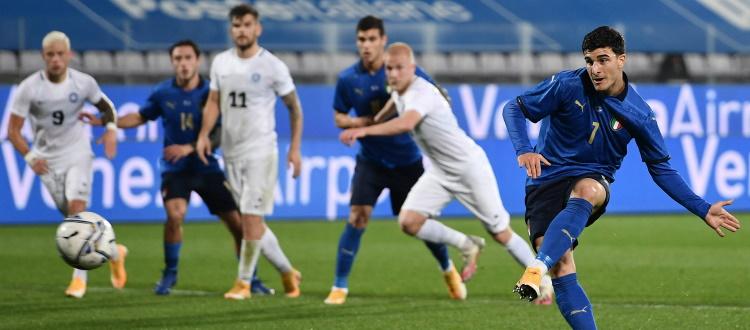 Orsolini in gol nel 4-0 dell'Italia all'Estonia: