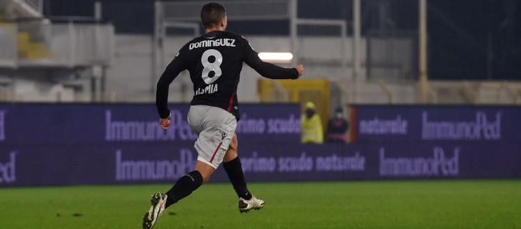 Primo gol in Serie A e in maglia rossoblù per Dominguez, 481° marcatore nella storia del Bologna