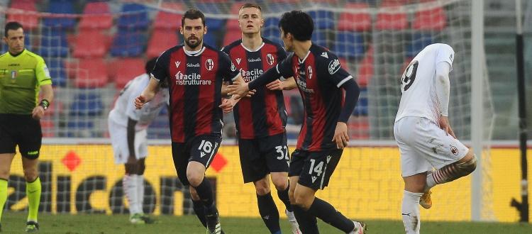 Bologna, ancora gioco, errori e rimpianti: non basta Poli, il Milan espugna 2-1 il Dall'Ara con Rebic e Kessie