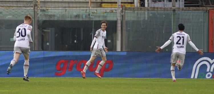 Il Bologna scherza con le coronarie dei suoi tifosi: sotto 2-0 a Crotone, rimonta e vince 3-2 con Soumaoro, Schouten e Skov Olsen