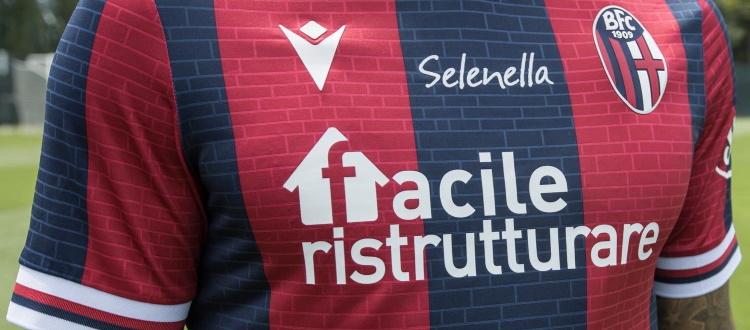 Maglia 2021/22: oltre allo sponsor tecnico Macron, prosegue la partnership del BFC con Facile Ristrutturare, Selenella, Illumia e Scala