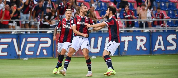 Ottovolante Bologna, Salernitana ribaltata 3-2 tra mille patemi: decisiva una doppietta di De Silvestri, a segno anche Arnautovic