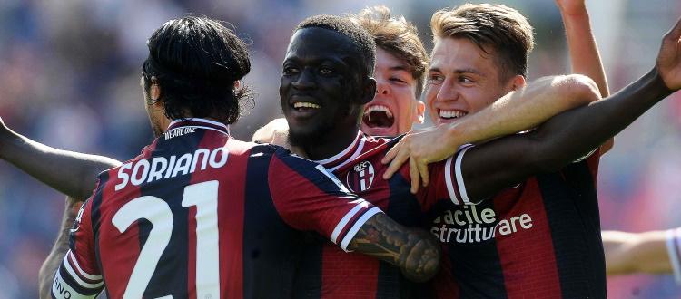 Bologna, la reazione è una meraviglia: prestazione maiuscola e Lazio schiantata 3-0 con Barrow, Theate e Hickey
